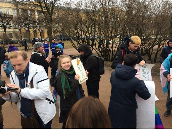 ВСанкт-Петербурге ЛГБТ-активисты провели двадцатиминутную акцию