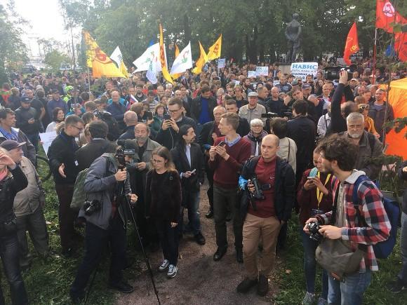 Милиция  насчитала 500 протестующих против пенсионной реформы вПетербурге