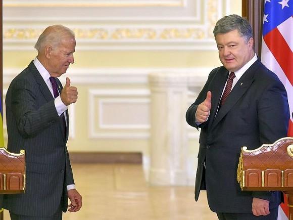Порошенко поблагодарил Байдена засанкции противРФ