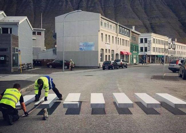 ВИсландии сняли навидео пешеходный переход с«парящими» полосами