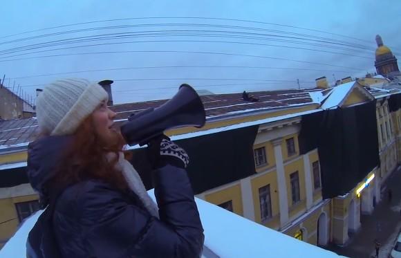 ВПетербурге руферы устроили концерт накрыше Главпочтамта