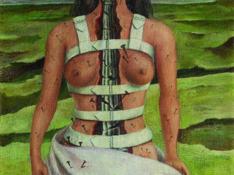 broken column frida kahlo essay A broken column is put in place of her spine the column appears to be on the verge of collapsing into rubble penetrating from loins to chin, the column looks phallic, and the sexual connotation is all the more obvious because of the beauty of frida's breasts and torso.